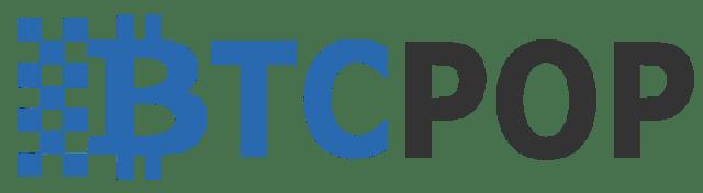Btcpop logo transparent, blue/black 800px