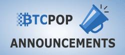 Btcpop logo, Announcements text, trumpet icon for btcpop announcements logo
