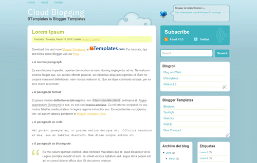 cloud-blogging-blogger-template