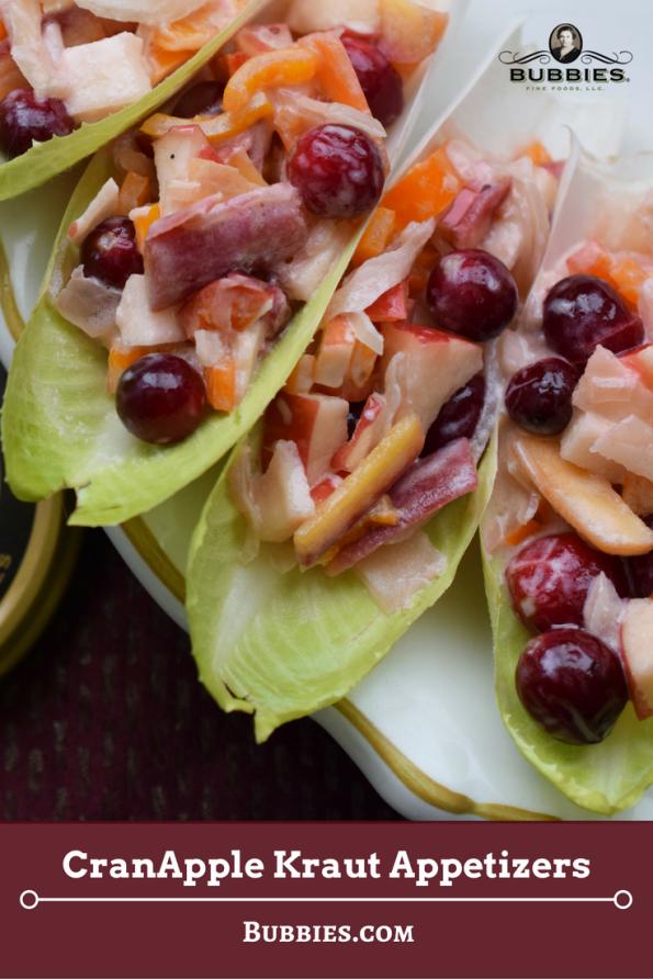cranberry apple sauerkraut slaw in lettuce leaf appetizers on plate