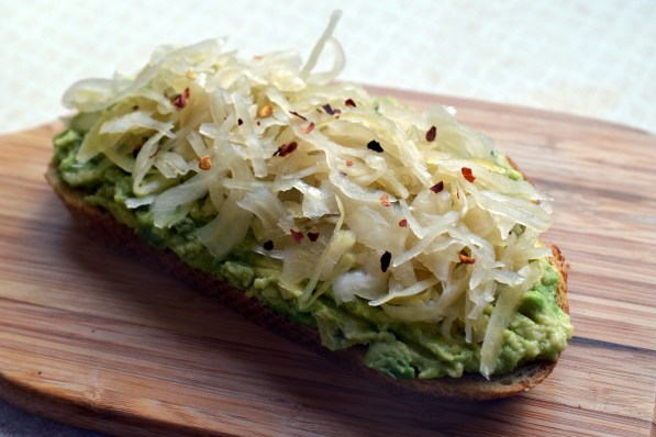 Sauerkraut and avocado on toast