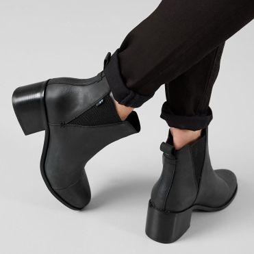 Women's TOMS Esme Black Leather Chelsea Boot
