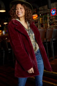 we're cozying up to the idea of dropping temps, and this faux fur number may have something to do with it.