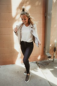 How to style black jeans - Women's Flying Monkey Black Ankle Skinny Jeans, White Crow Waffle Top, Daytrip Suede Moto Jacket, J/Slides Leopard Suede Sneakers