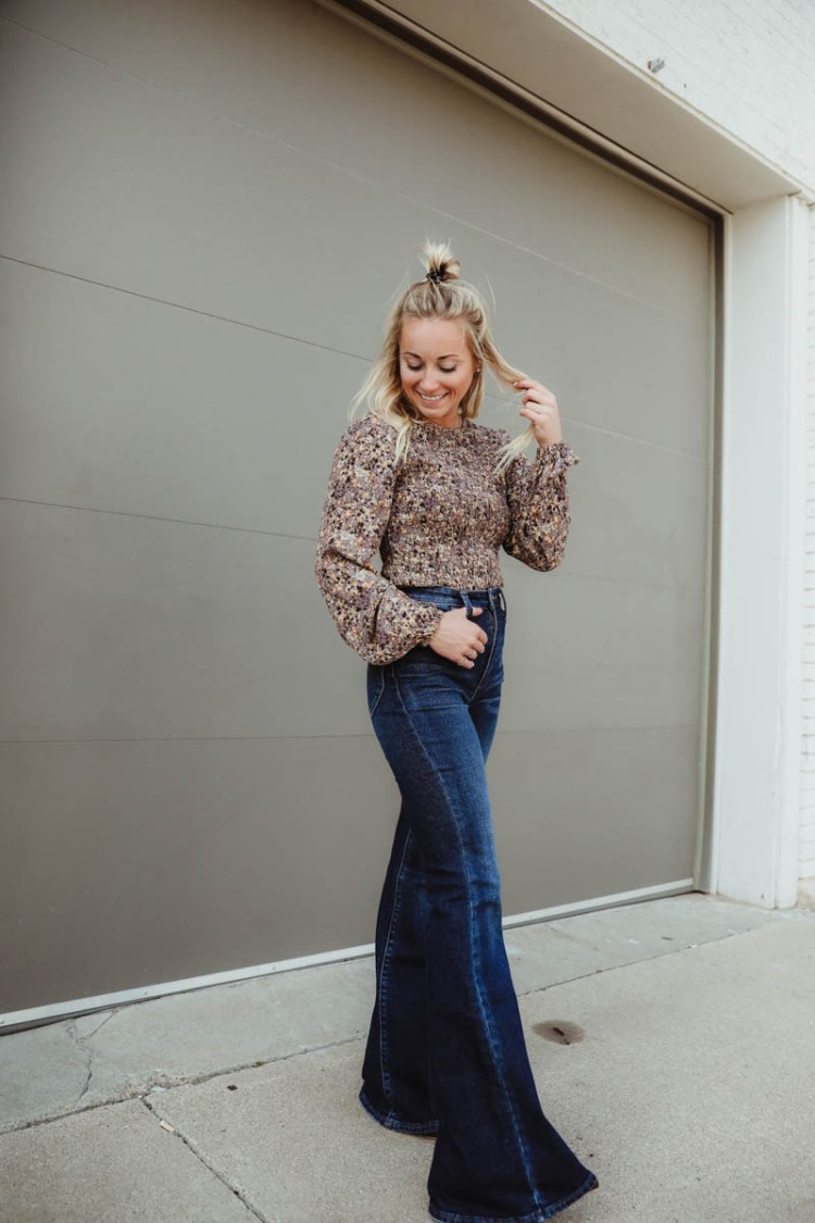 Women's Outfit For Fall - Gimmick Floral Print Top, Dark Wash Lee Bell Bottom Flare Jeans, Coconuts Block Heel Ankle Booties