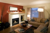 rust colored accent wall | Living room | Pinterest