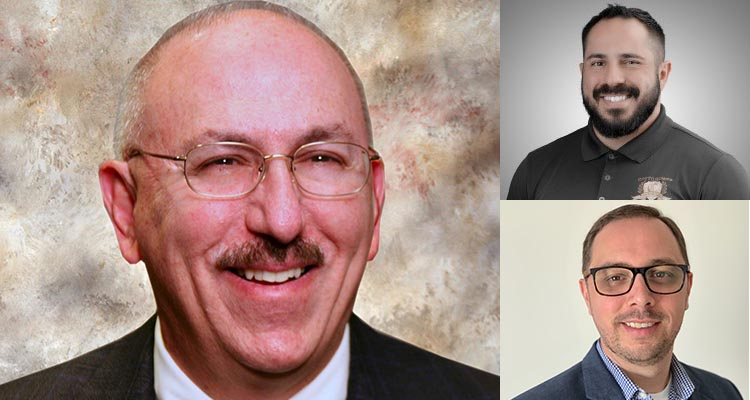 Close up of three men. Larger picture on the left, man with a mustache and glasses.