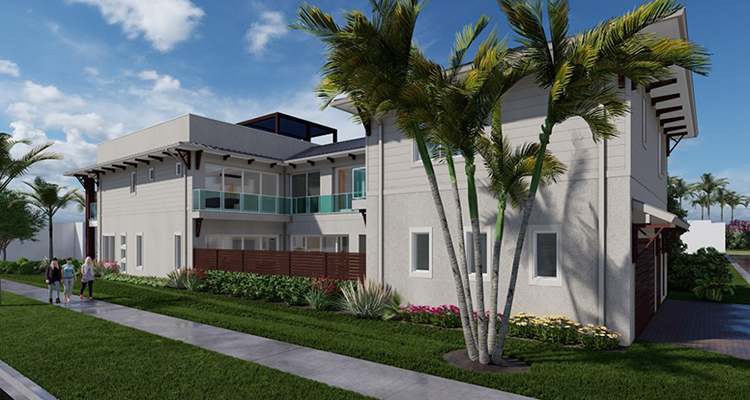 Large, two story house with palm tree and lawn.