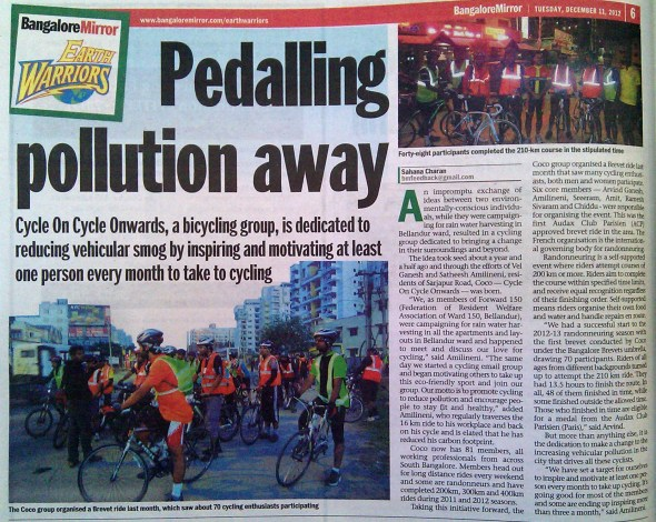 pedalling pollution away - bangalore brevets cycling in Bangalore