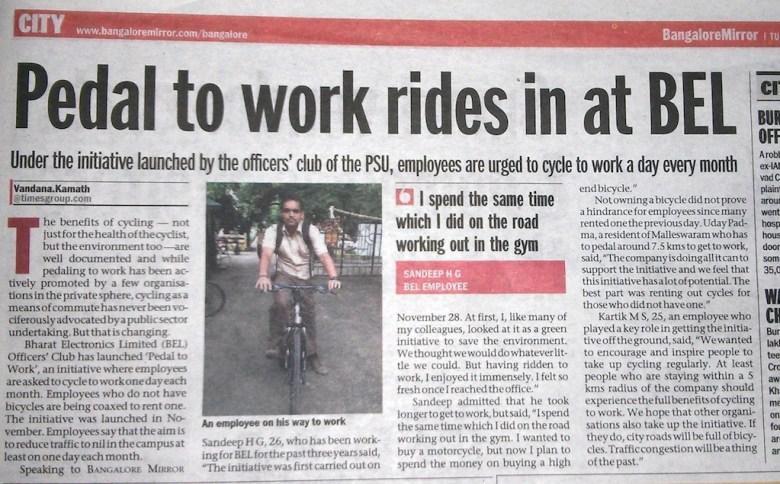 BOTS Wheels of Change - bike/bicycling to work at BEL Bangalore