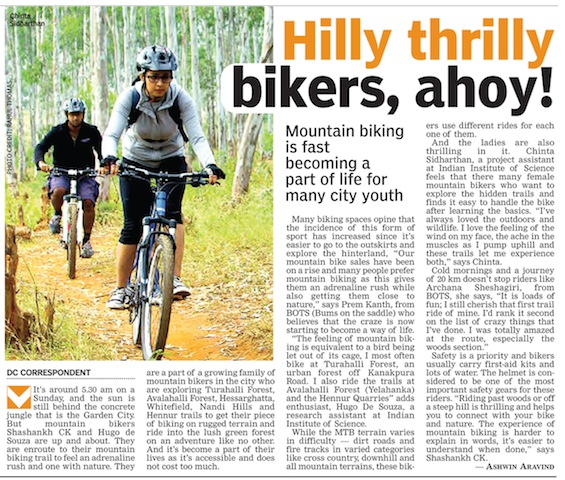 MEDIA052 - deccan chronicle - mountain biking bangalore