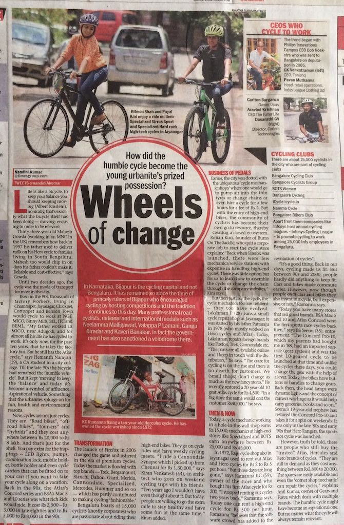 MEDIA055 - Bangalore Mirror - Wheels of Change