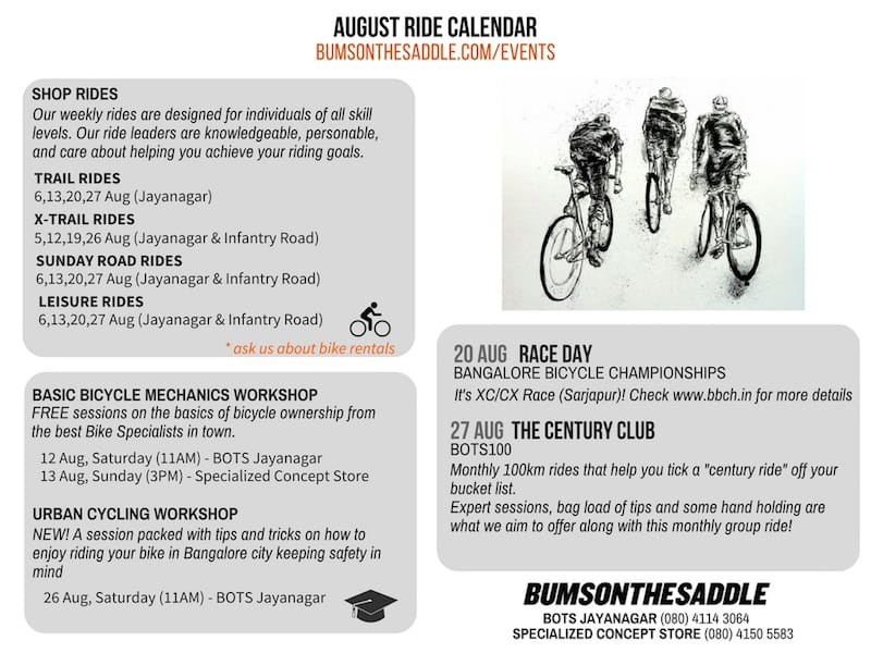 BUMSONTHESADDLE Cycling events and rides in Bangalore thru August