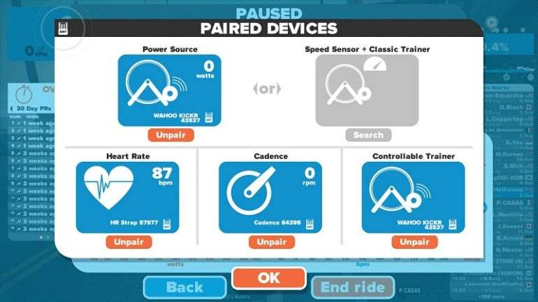 Device pairing on Zwift