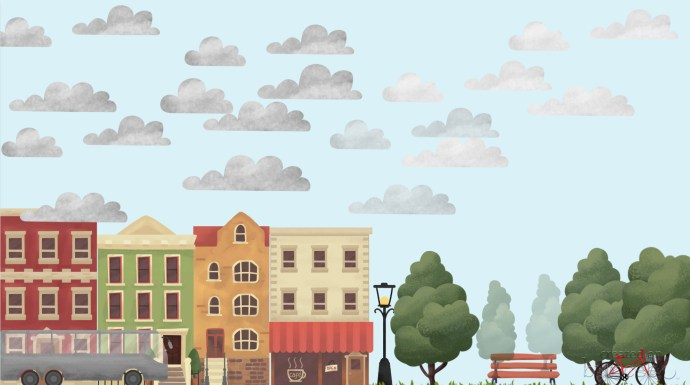 Buncee of a Street with Partly Cloudy Sky