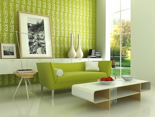Wasabi Sofa and Accent Wall