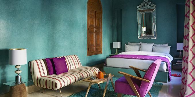 moroccan befroom teal and purple