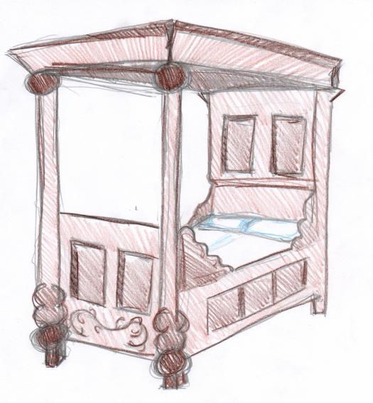 In so einem Bett könnte ein Ritter geschlafen haben.