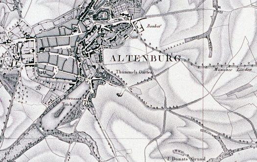 Thümmels Garten in Altenburg auf der Thümmelschen Karten von 1813, Section VIII.