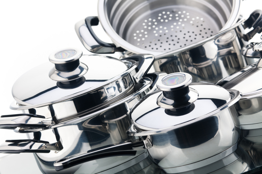 Set of stainless steel sauce pans