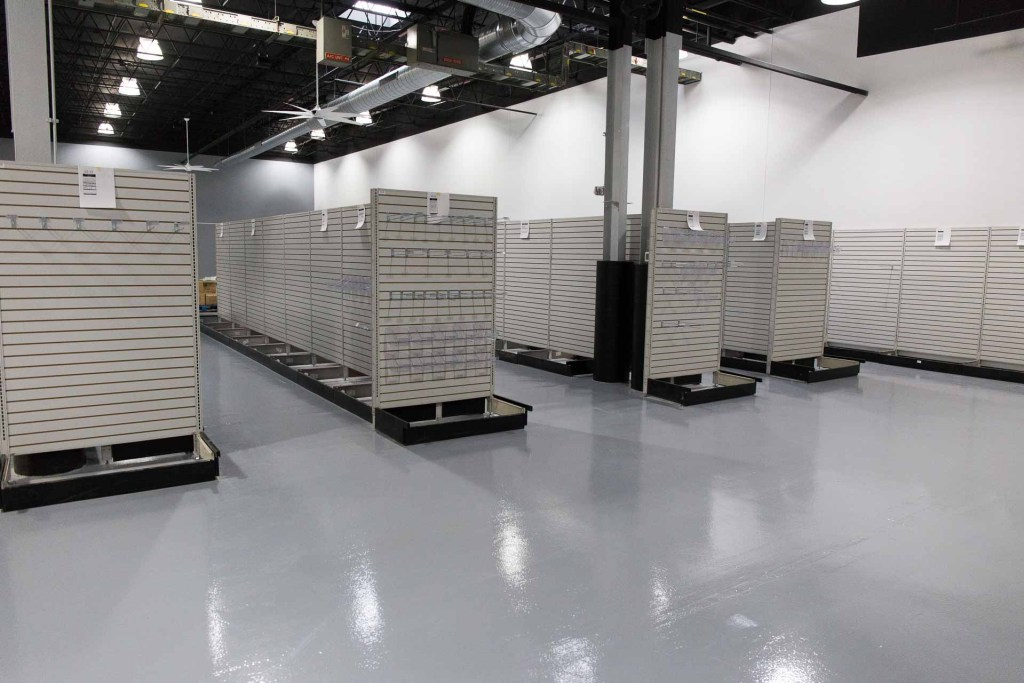 Showroom with shelves