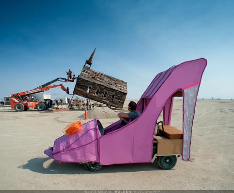 Burning Man Art Preview: Church raising and glam heels art car