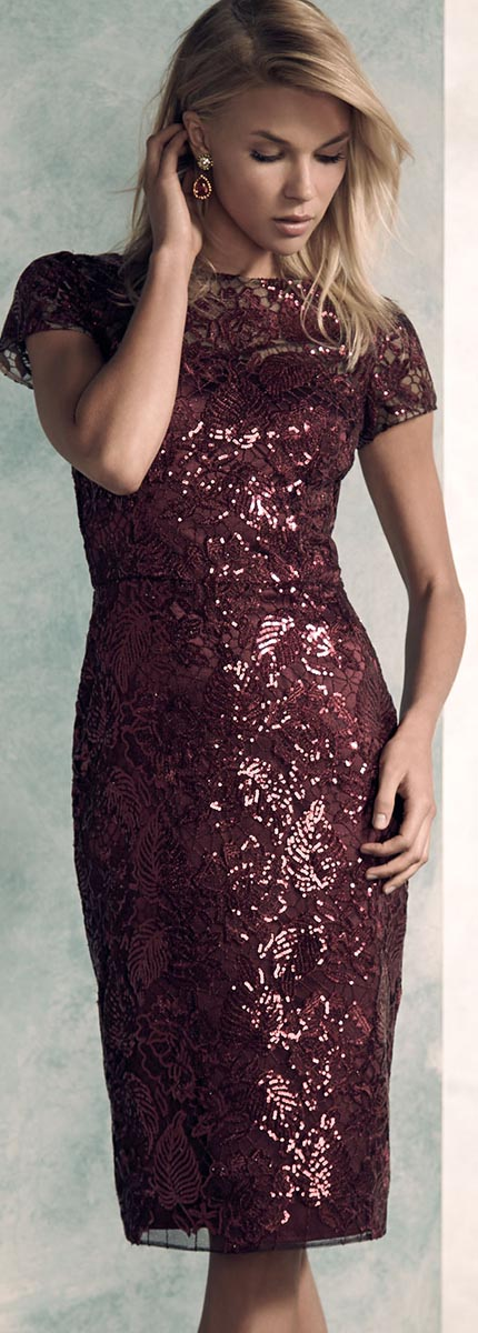 David Meister Sequin Party Dress