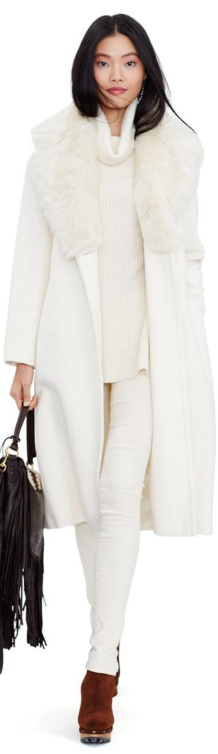 Ralph Lauren Shearling Collar Wool Coat
