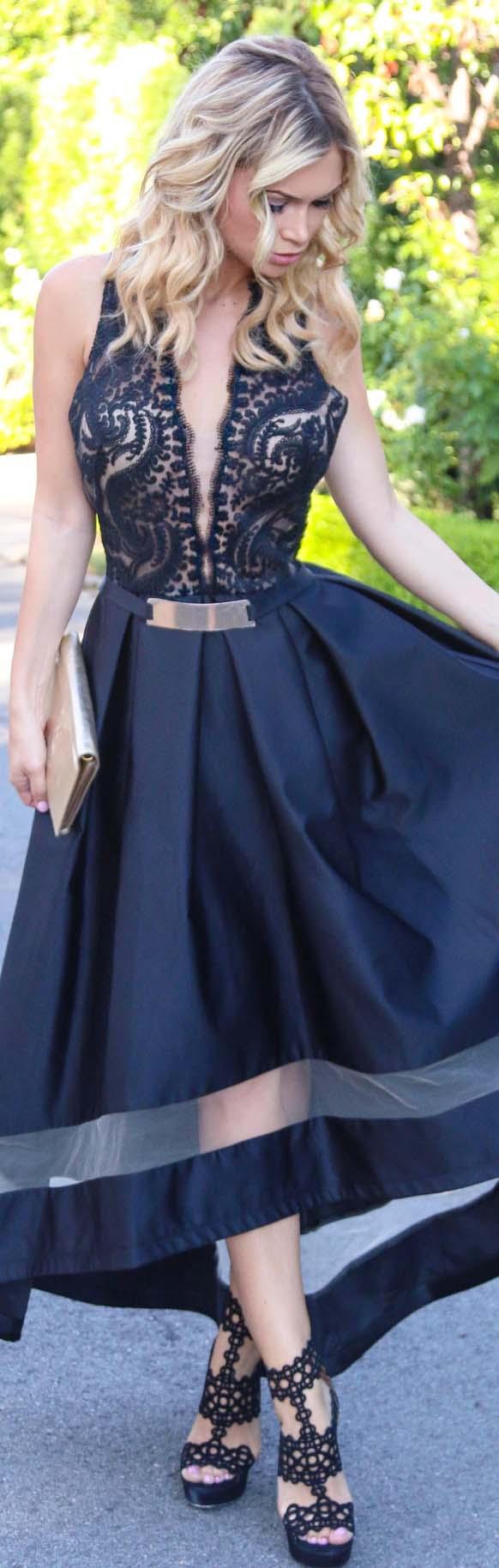 Nicole Batki Black Cocktail Dress