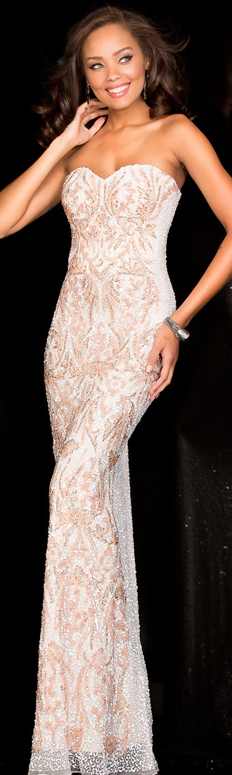 SCALA gown in Ivory/Blush