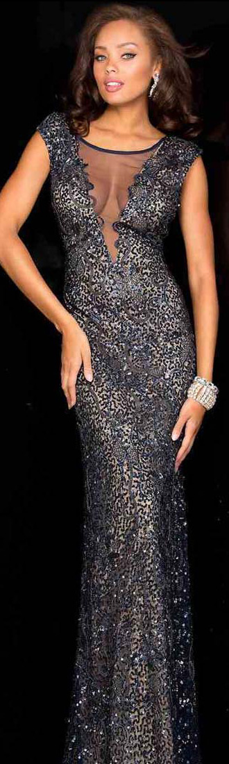 SCALA gown in Navy/Nude