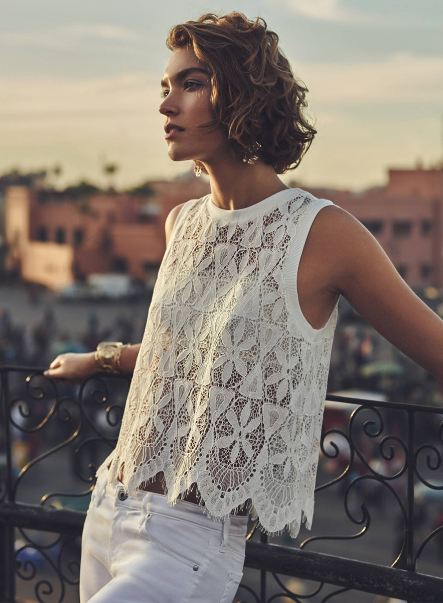 Anthropologie Scalloped Lace Tank