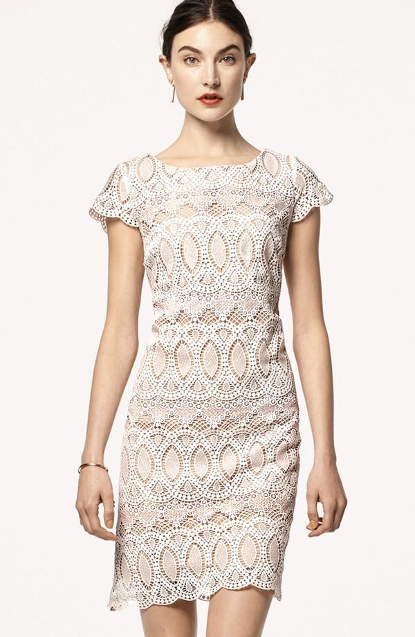 Eliza J Scalloped Lace Sheath Dress
