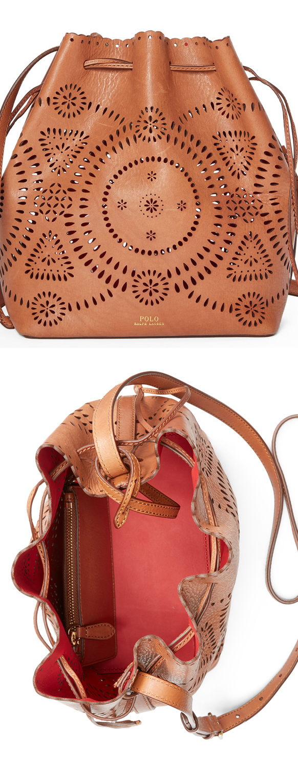 Polo Laser Cut Leather Bucket Bag