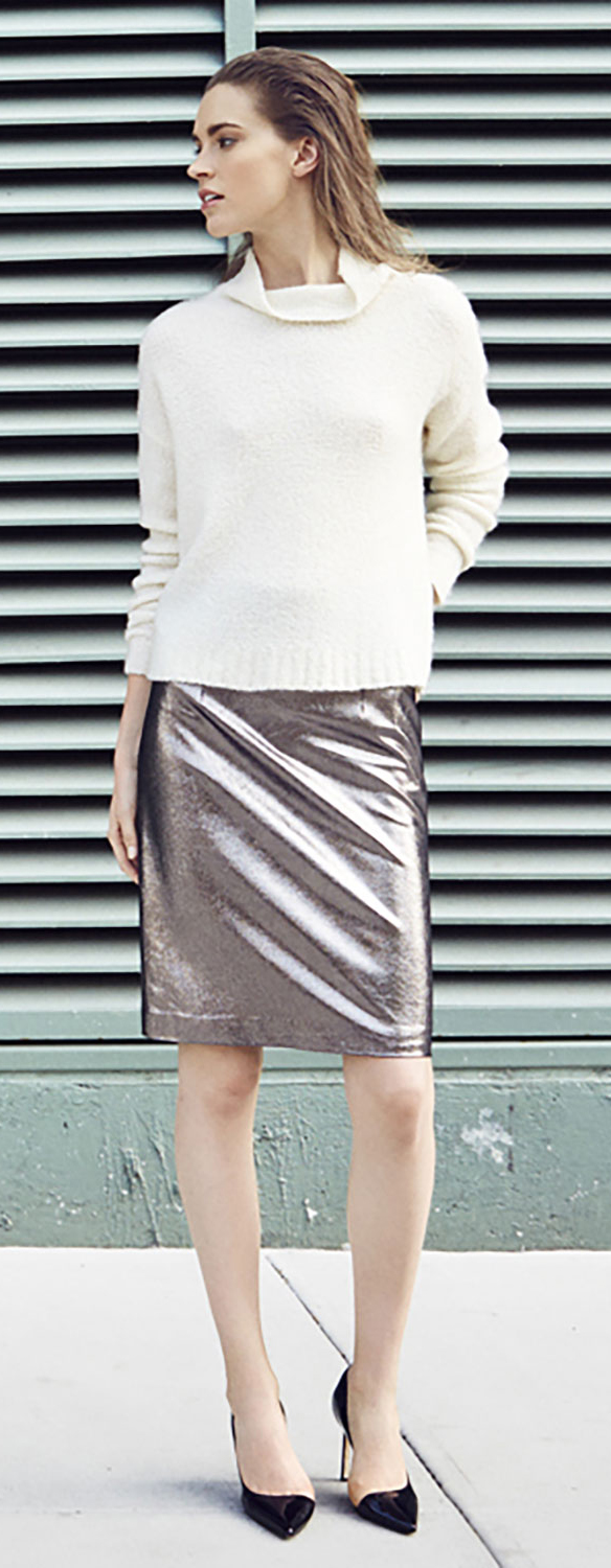 Milly Cashmere Pullover & Metallic Skirt