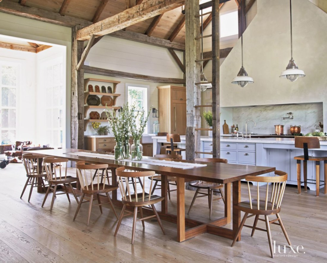 Country White Dining Room with Black Walnut Table