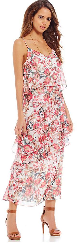 Gianni Bini Beau V-Neck Sleeveless Floral Chiffon Dress