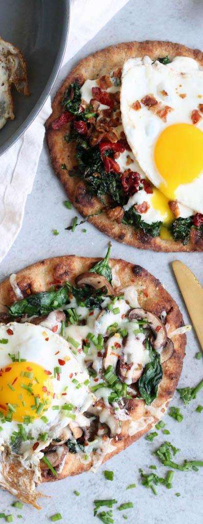 Breakfast Naan Pizzas