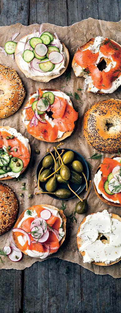 Healthy Breakfast Bagels with Herbs