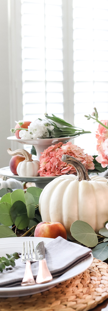 Fall Table with Pumpkins & Peaches