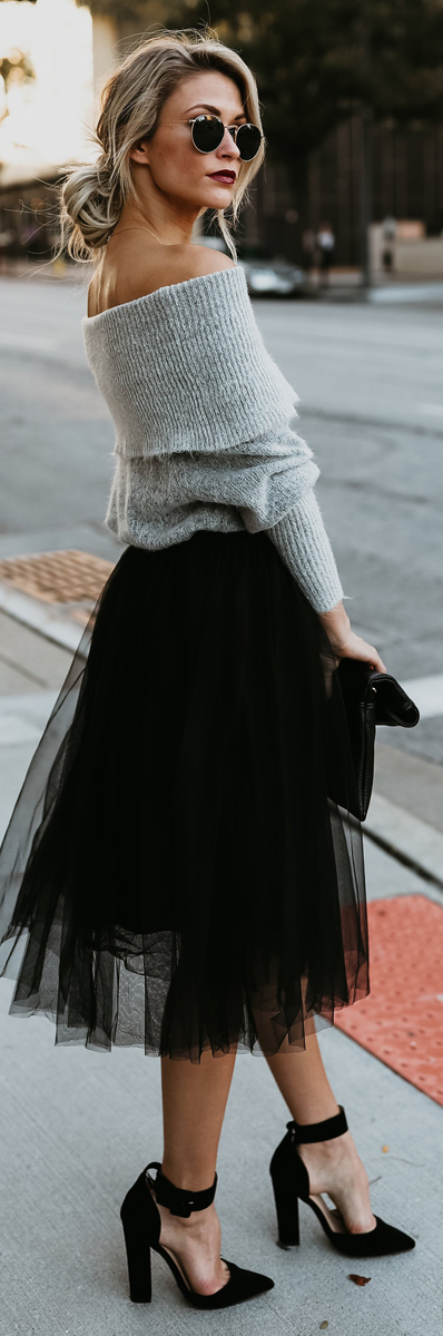 Tulle Black Skirt | Fall Fashion