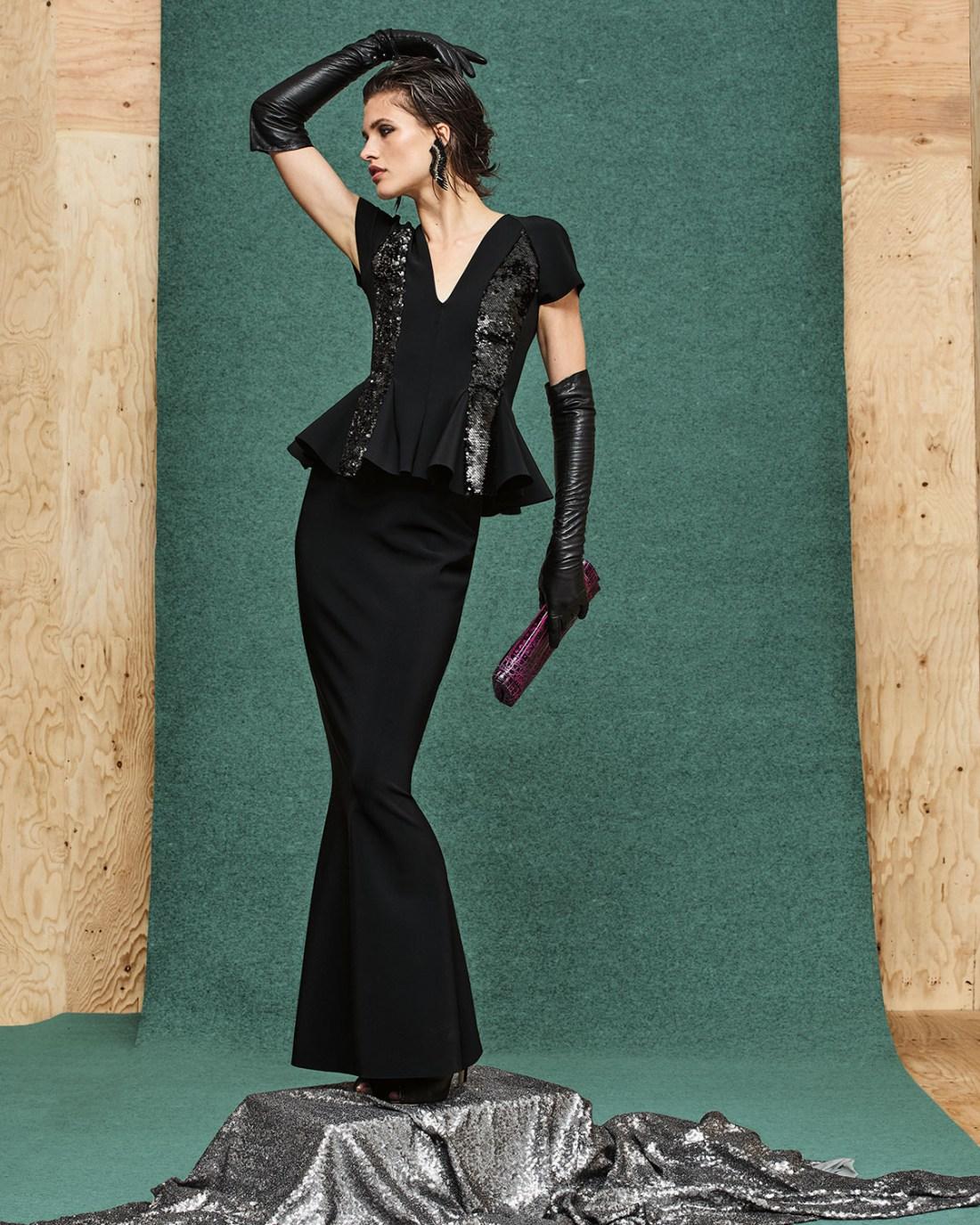 Chiara Boni La Petite Robe Sequined Peplum Gown
