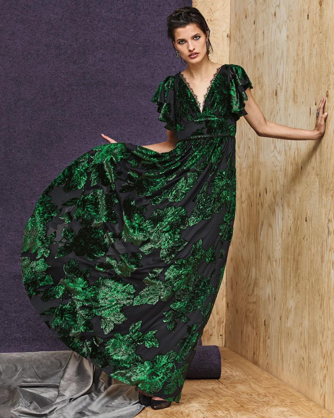 Marchesa Notte V-Neck Velvet Burnout Lace-Trim Dress