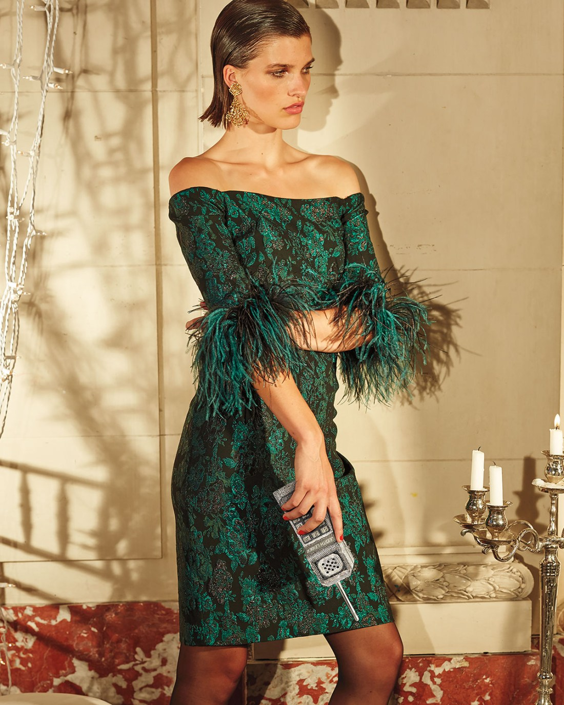 Ricki Freeman Off The Cuff Shoulder Feather Cuff Dress