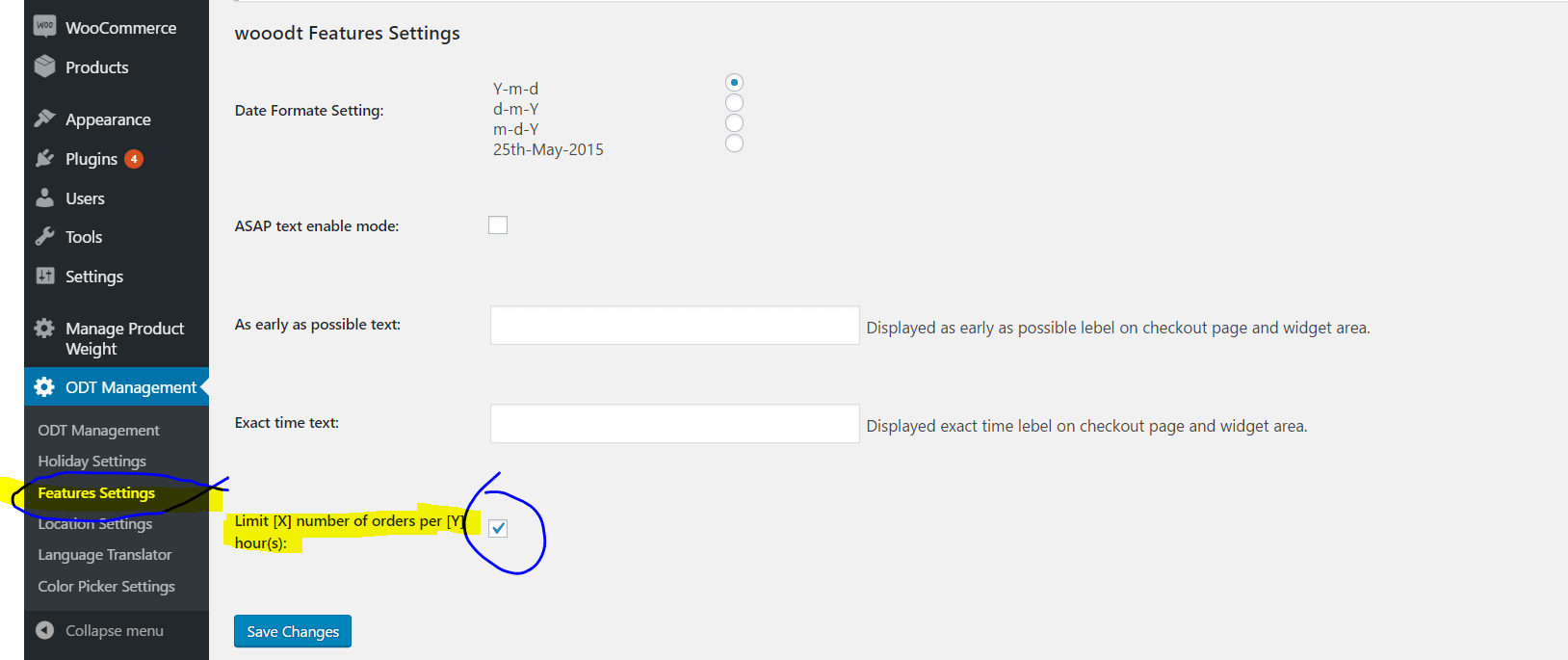 Enabling per time slot per location order limitation in WooODT Extended