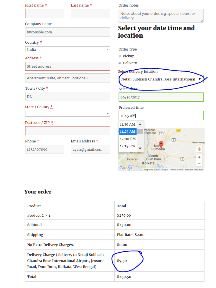 Location basis extra shipping charge in WooCommerce checkout page with WooODT Extended