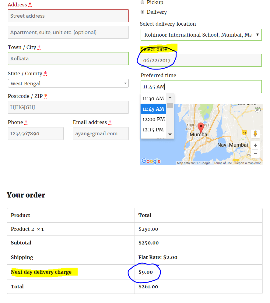 Next day delivery charge applied on checkout page after selecting date and time