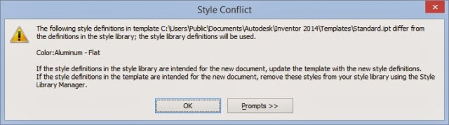 Autodesk Inventor Style Conflict