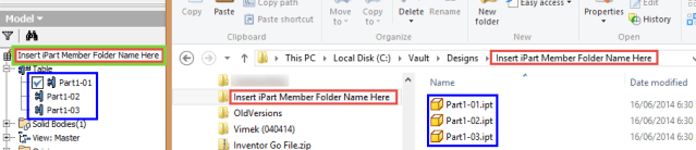 Autodesk Inventor iPart Member Folder Name Examples