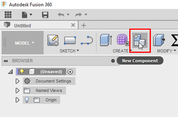 Fusion 360 New Component Ribbon